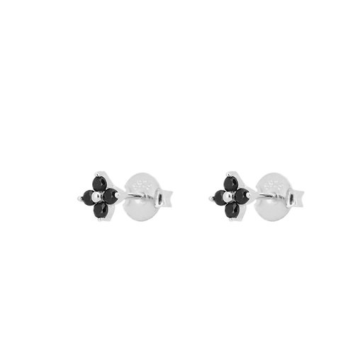 Black zirconia flower silver