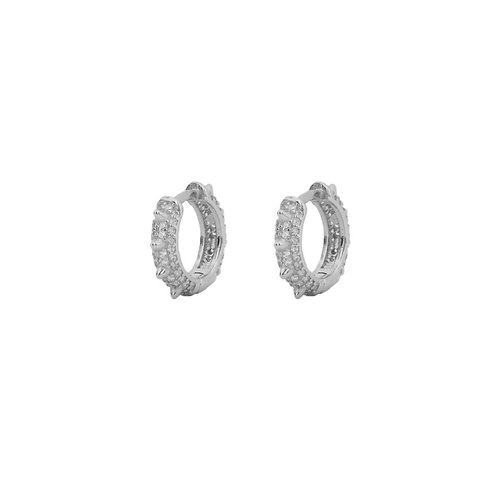 Big zirconia spike hoop silver