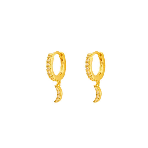 White zirconia moon gold