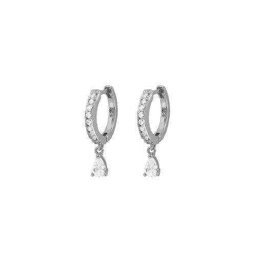 White zirconia tear hoop silver