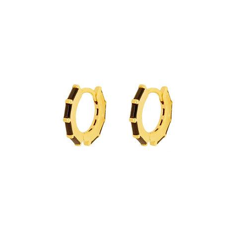 Black zirconia baguettes hoop gold