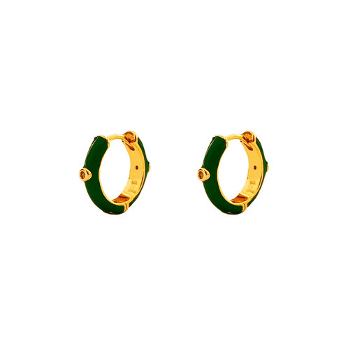 Green enamel hoop gold