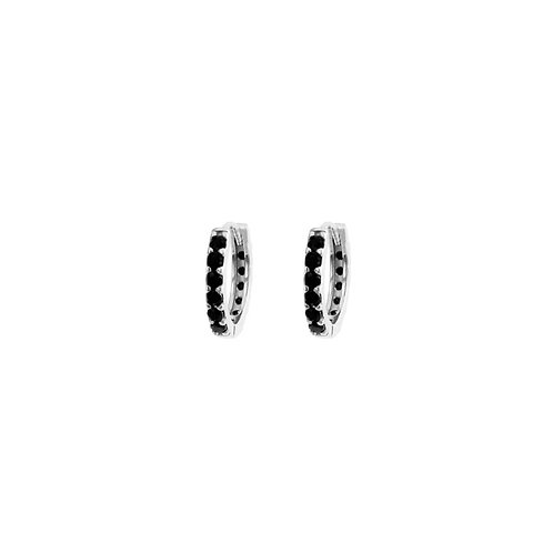 Black zirconia hoop silver