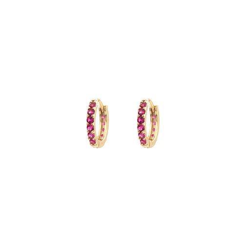 Pink zirconia hoop gold