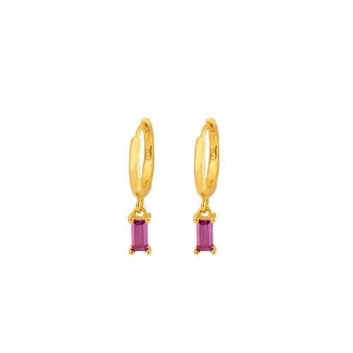 Violet zirconia rectangle hoop gold