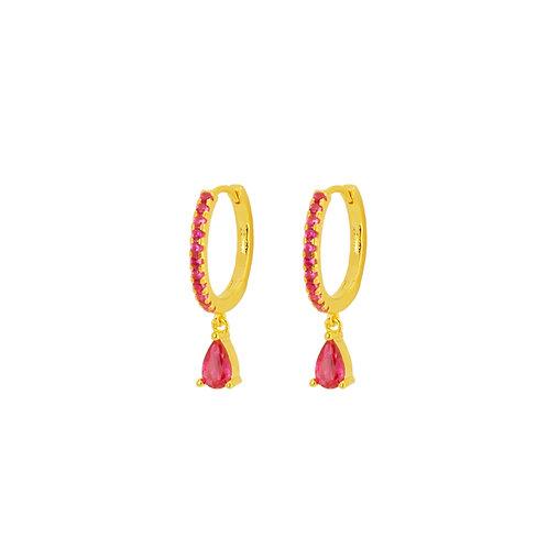 Pink tear hoop gold