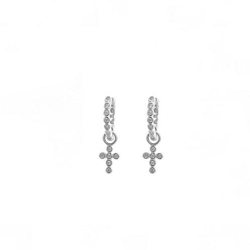 Zirconia cross hoop silver