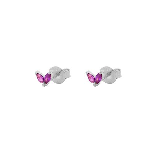 Violet zirconia petals silver