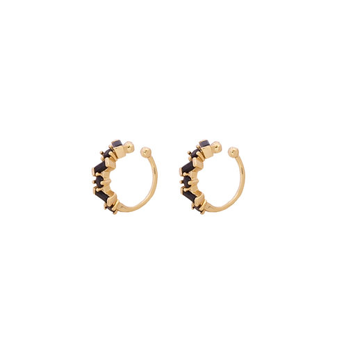 Black zirconia ear cuff gold