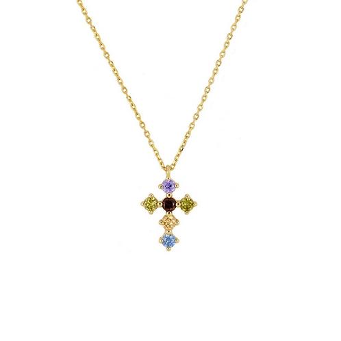 Rainbow zirconia cross gold