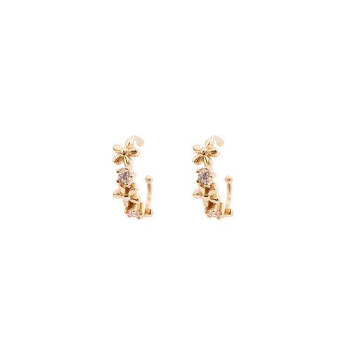Zirconia flower ear cuff gold