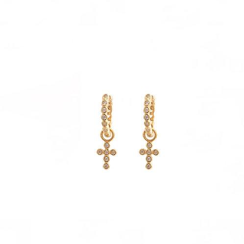 Zirconia cross hoop gold