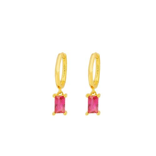 Pink rectangle hoop gold