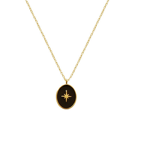Black oval star gold