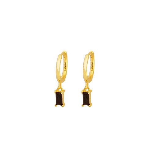 Black zirconia rectangle hoop gold