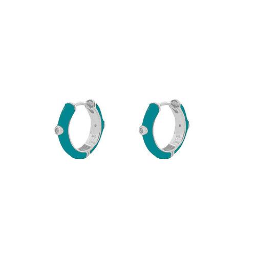 Turquoise enamel hoop silver