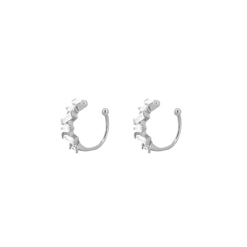 White zirconia ear cuff silver