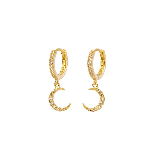 Zirconia moon hoop gold