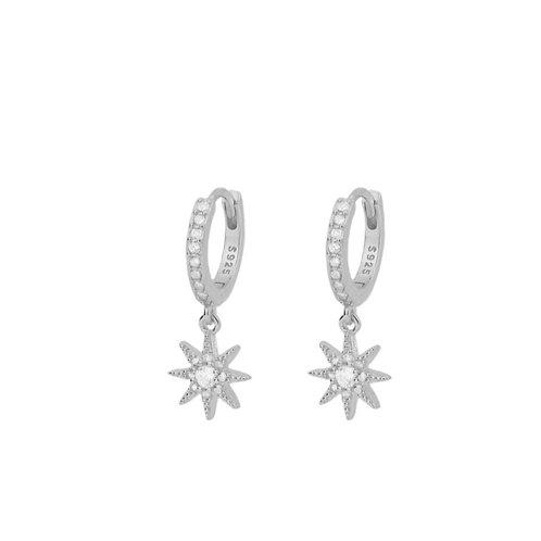 Zirconia star hoop silver