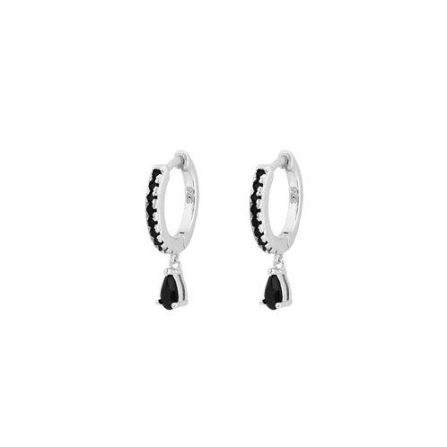 Black zirconia tear hoop silver