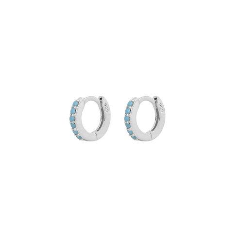 Turquoise mini hoop silver