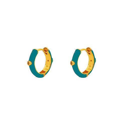 Turquoise enamel hoop gold