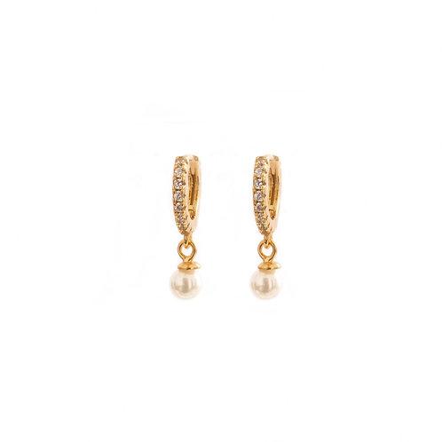 Pearl zirconia hoop gold