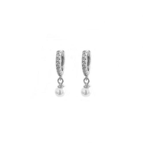 Pearl zirconia hoop silver