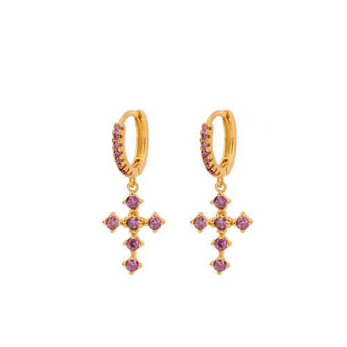 Violet zirconia hoop cross gold