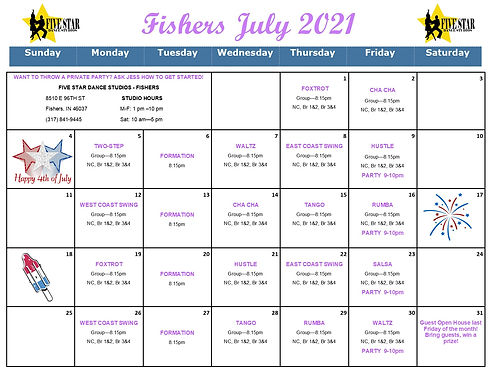 Fishers July Calendar