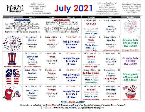 Greenwood July Calendar