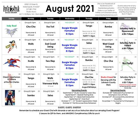 Greenwood August Calendar