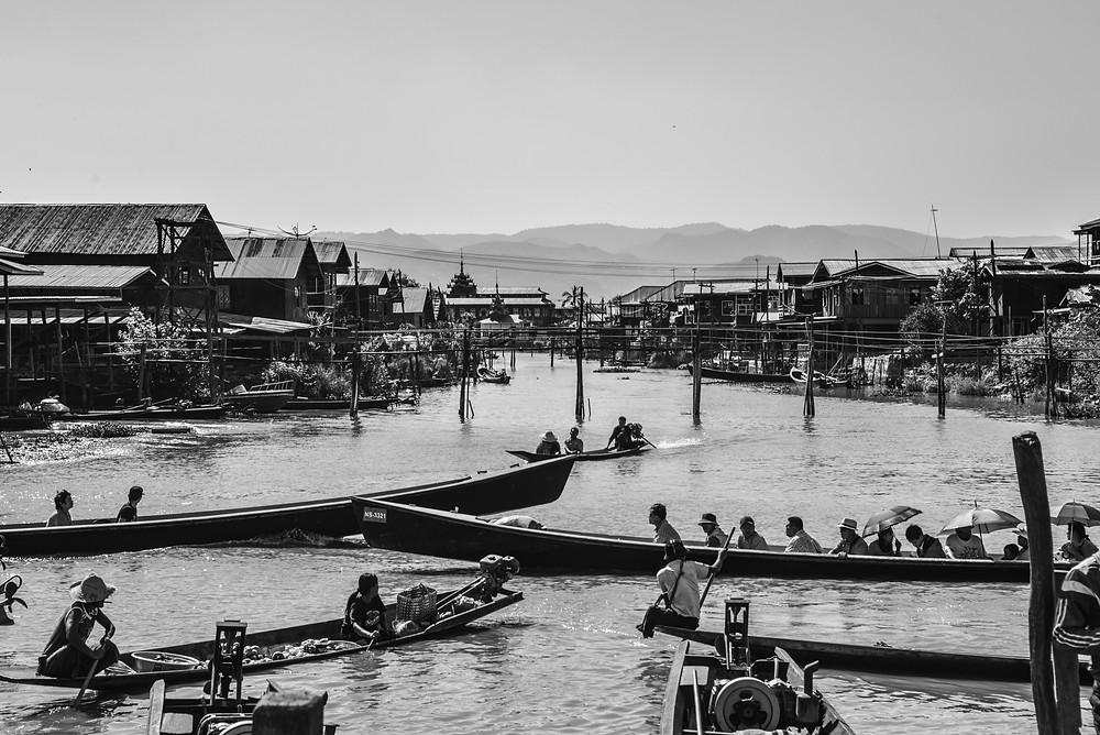heavy boat traffic at Inle Lake Myanmar
