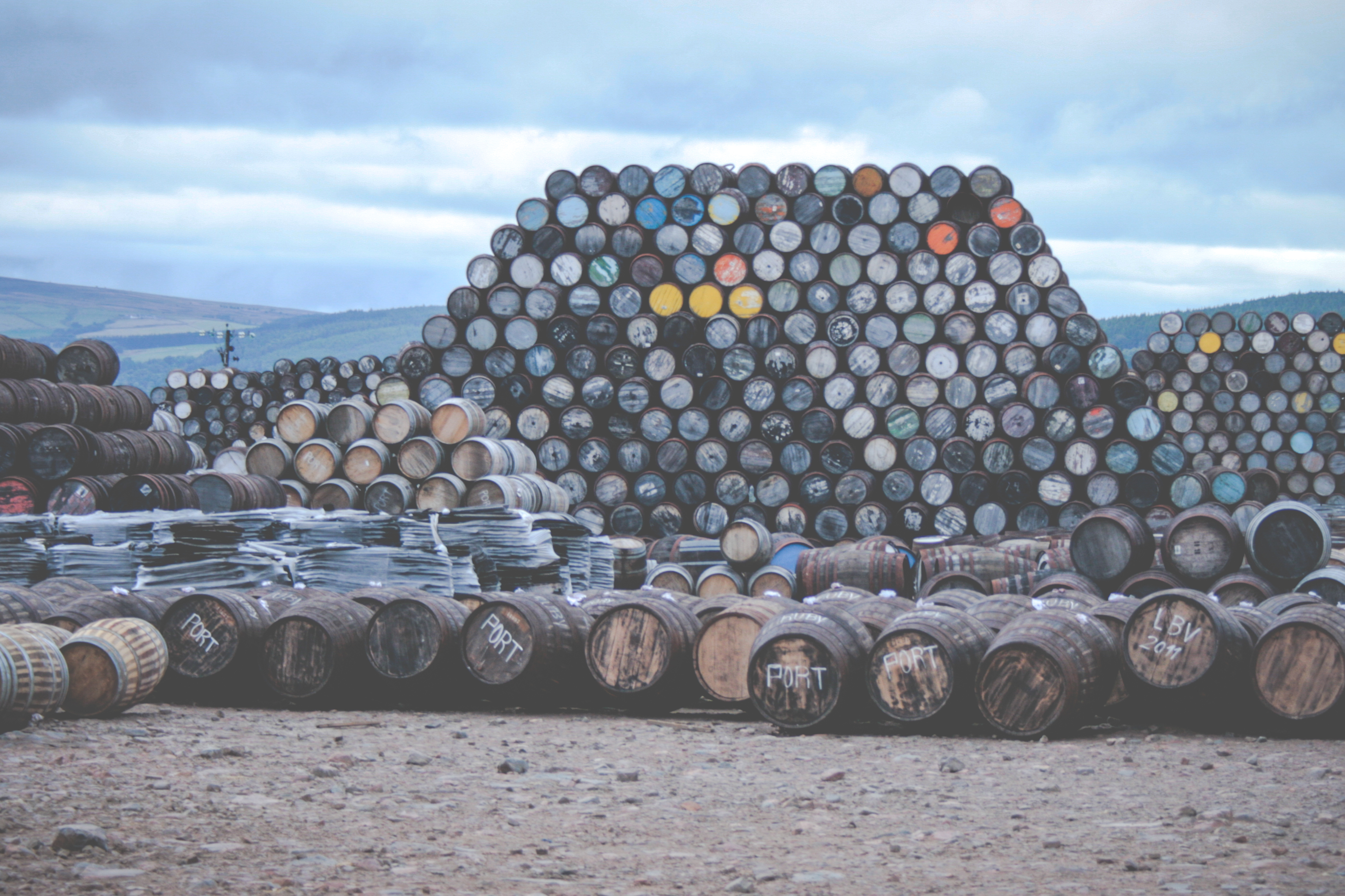 Scotland whisky barrels