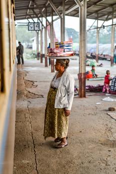on the train station near Inle Lake, Aungpan