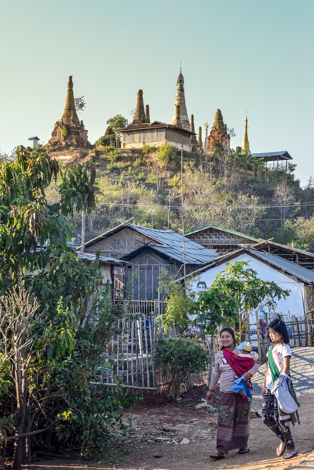 Stupas on a hill at Inle Lake Myanmar