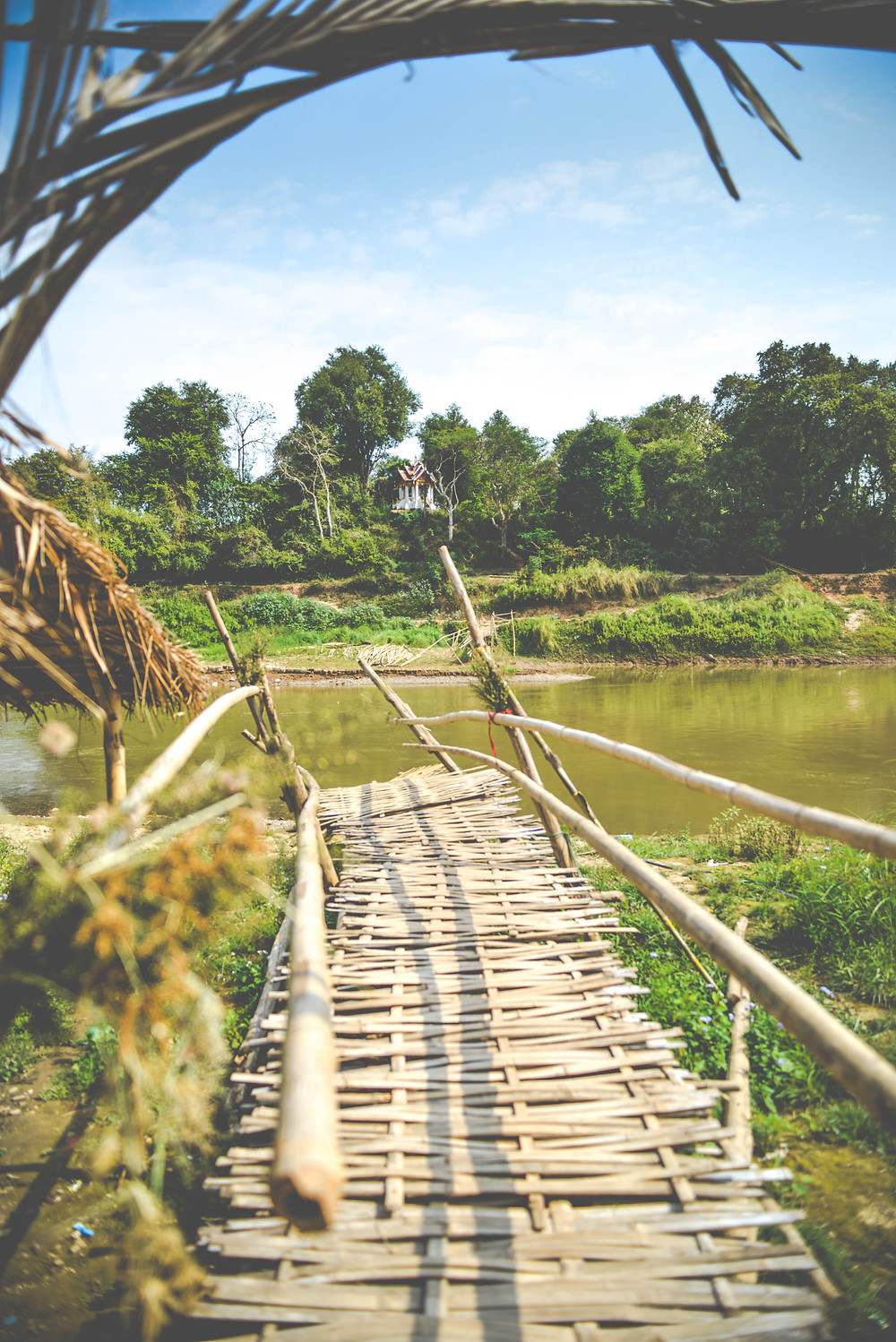 broken bridge in the north part of Luang Prabang during the dry season in