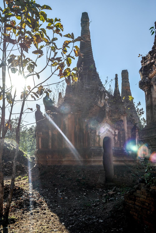 ancient temple stupas at Inle Lake Myanmar