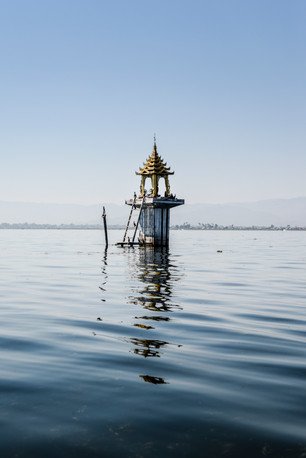 in the middle of Inle Lake
