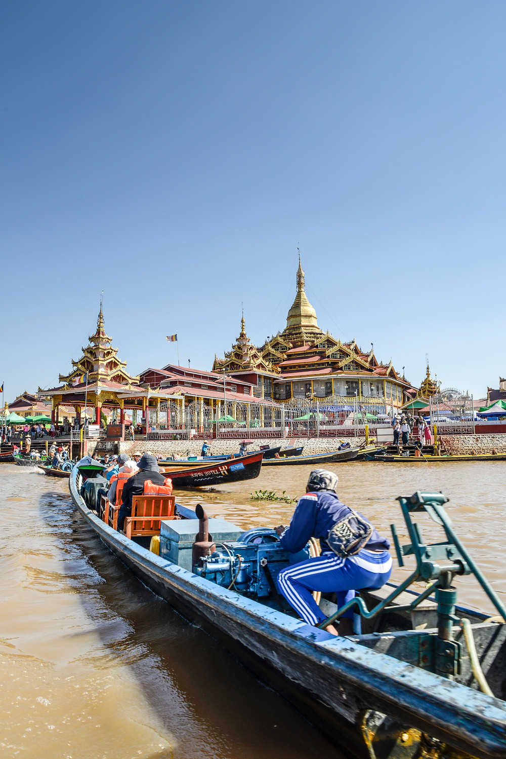a temple surrounded by water at Inle Lake Myanmar