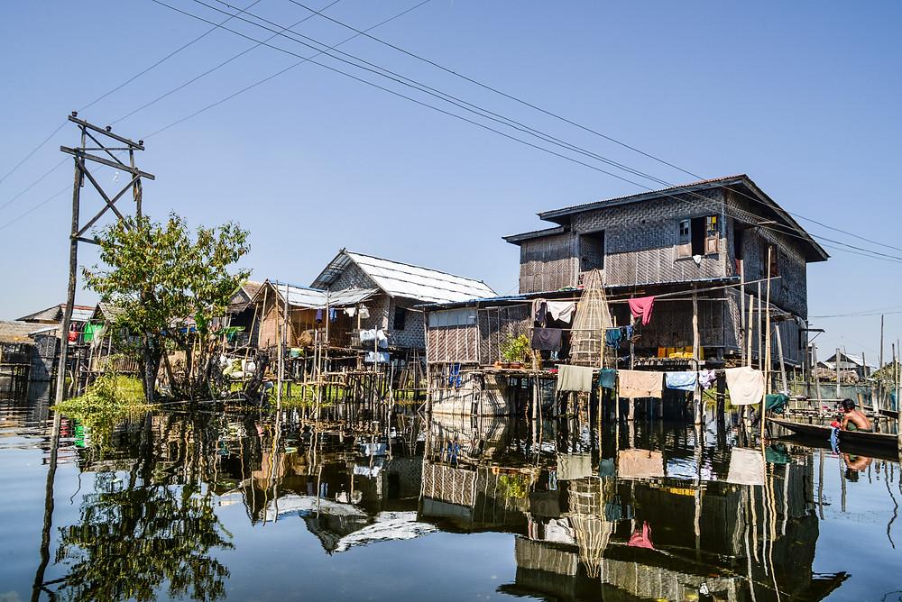 houses on stilts at Inle Lake Myanmar