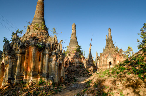 ancient stupas at the south of Inle Lake