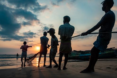 Fishermen around Weligama