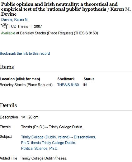 PhD thesis public opinion on Irish neutr
