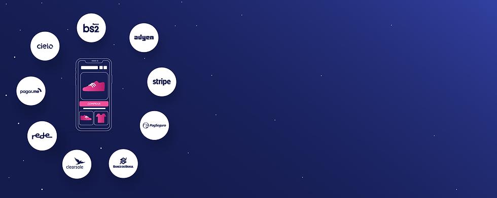Circulos com logos dos provedores disponíveis: Banco Bs2, Cielo, Pagar.me, Rede, Stripe, Adyen, Clearsale, Banco do Brasil, PagSeguro
