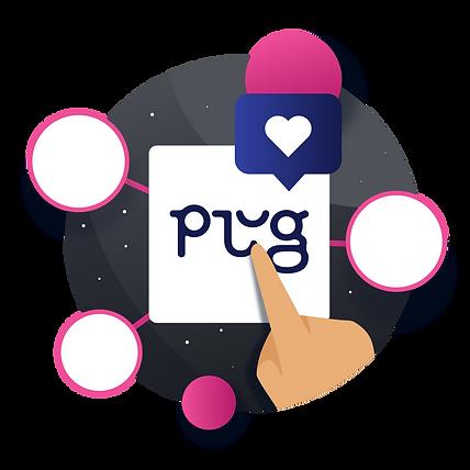 Círculos conectados a partir do logotipo da Plug, com um balão de fala azul e um coração branco