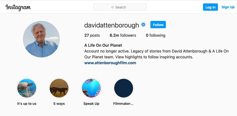 David Attenborough's Instagram