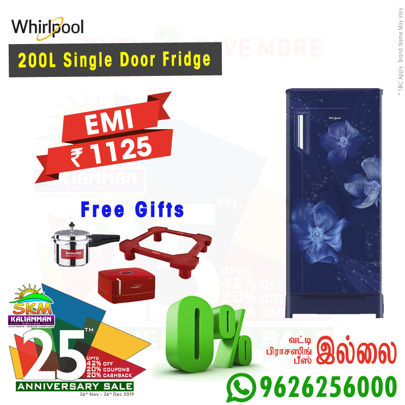 Anniv_Whirlpool 200l Single Door Fridge.