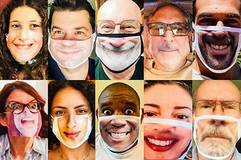 10 photos of people wearing masks that have their own face printing on it