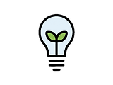 Icon of a light bulb with a leaf inside